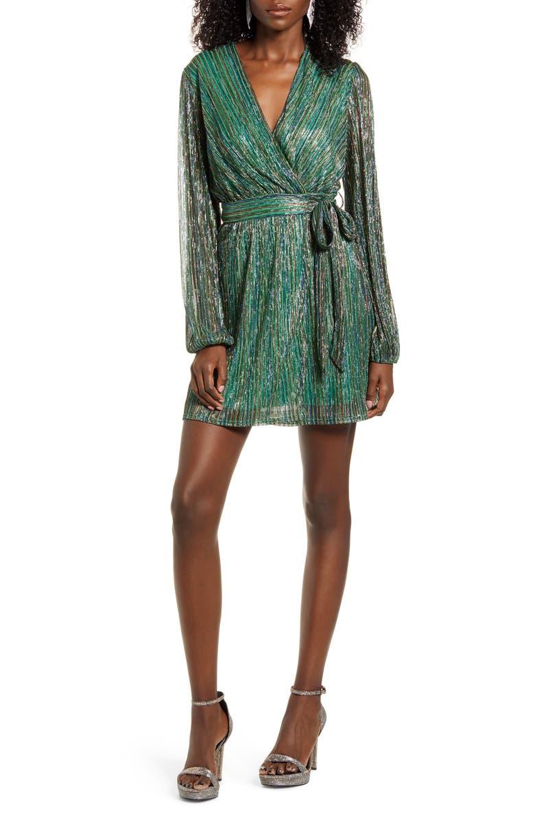 4SI3NNA Weila Metallic Stripe Long Sleeve Wrap Dress, Main, color, 340