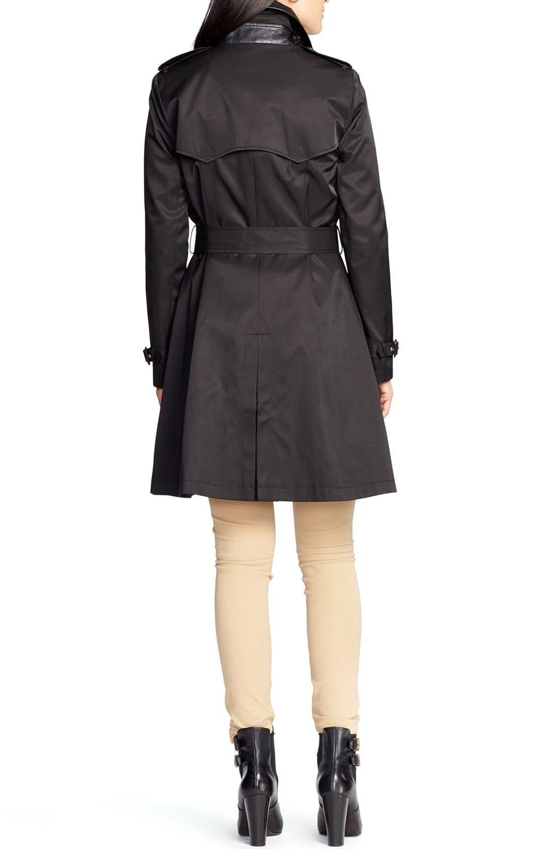 ,                             Faux Leather Trim Trench Coat,                             Alternate thumbnail 16, color,                             001
