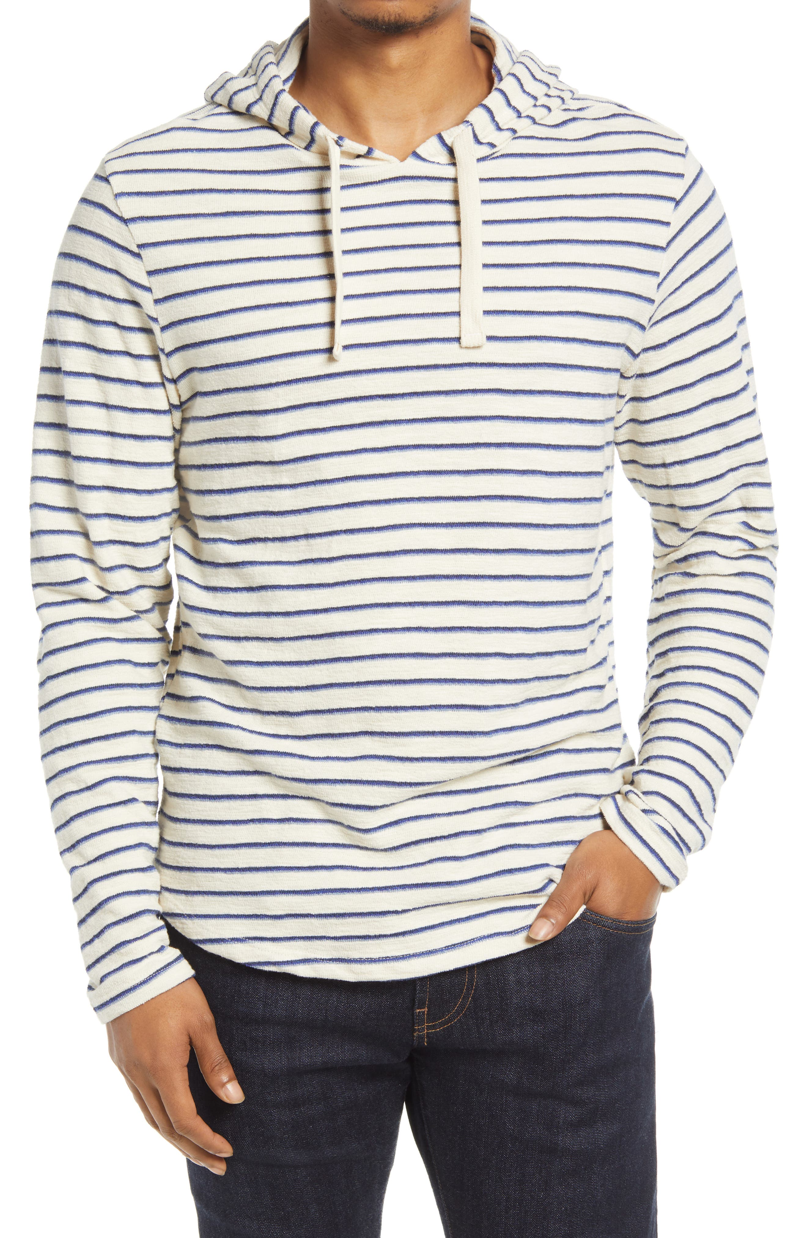 Men's Stripe Slub Cotton Hoodie
