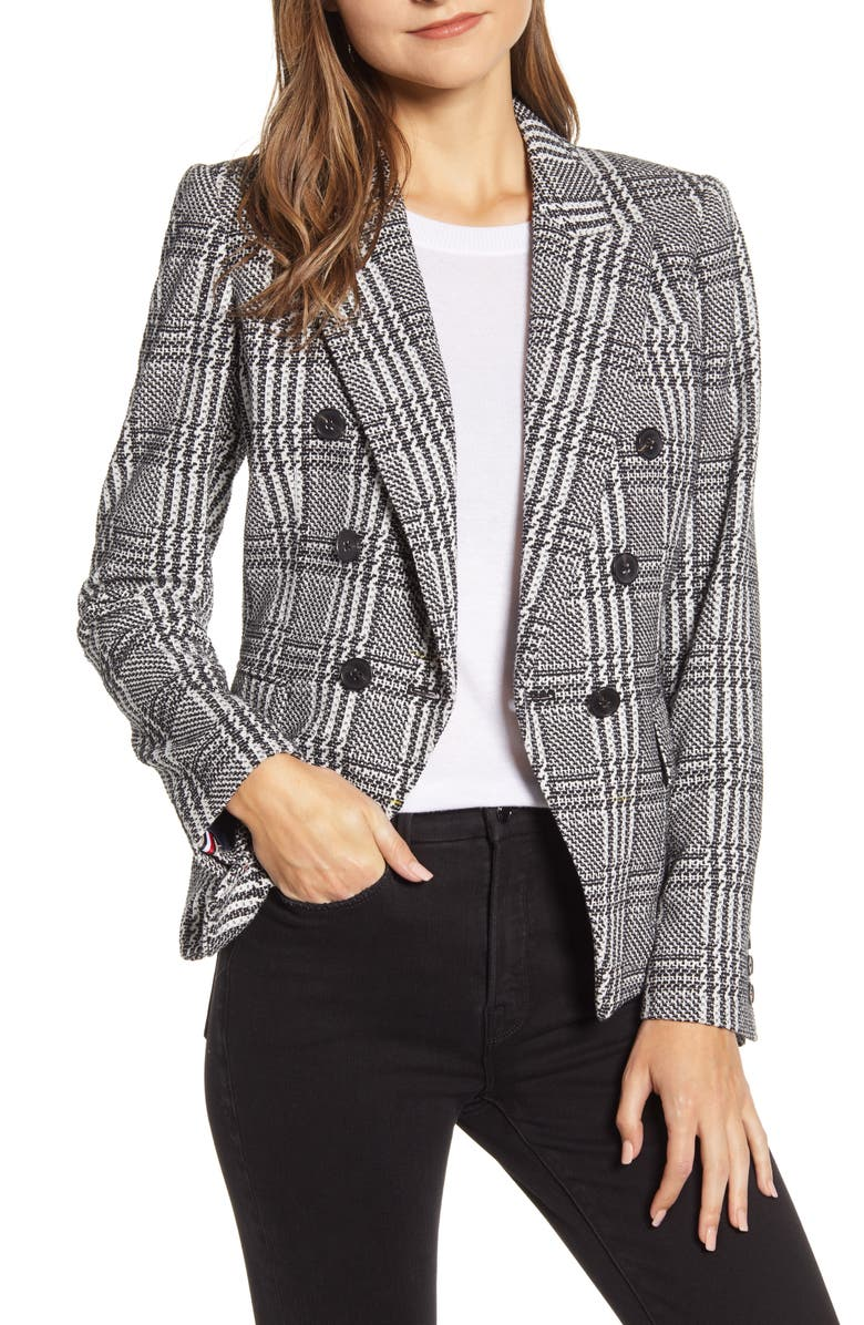 TOMMY HILFIGER Houndstooth Check Double Breasted Cotton Blend Jacket, Main, color, BLACK/ IVORY