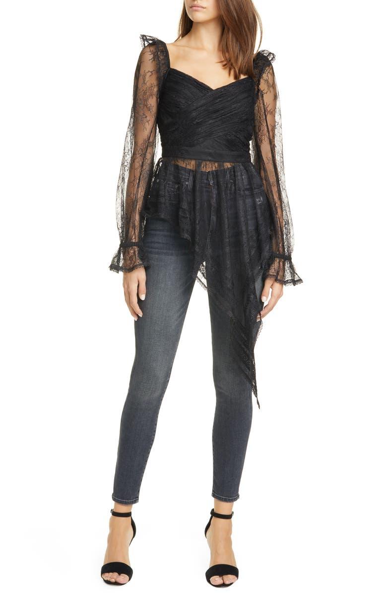 SELF-PORTRAIT Lace Asymmetrical Peplum Long Sleeve Top, Main, color, BLACK