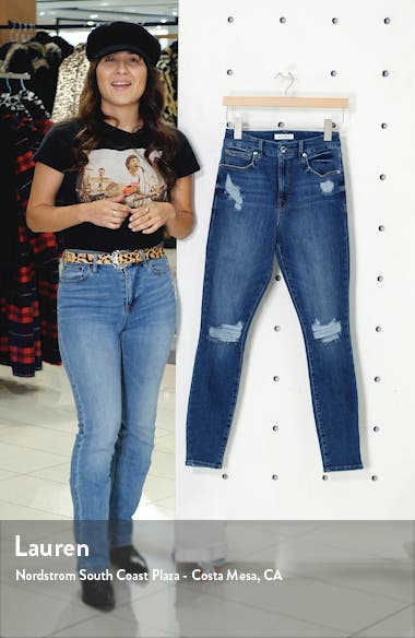 Good Waist Distressed Snake Pocket Bag Skinny Jeans, sales video thumbnail