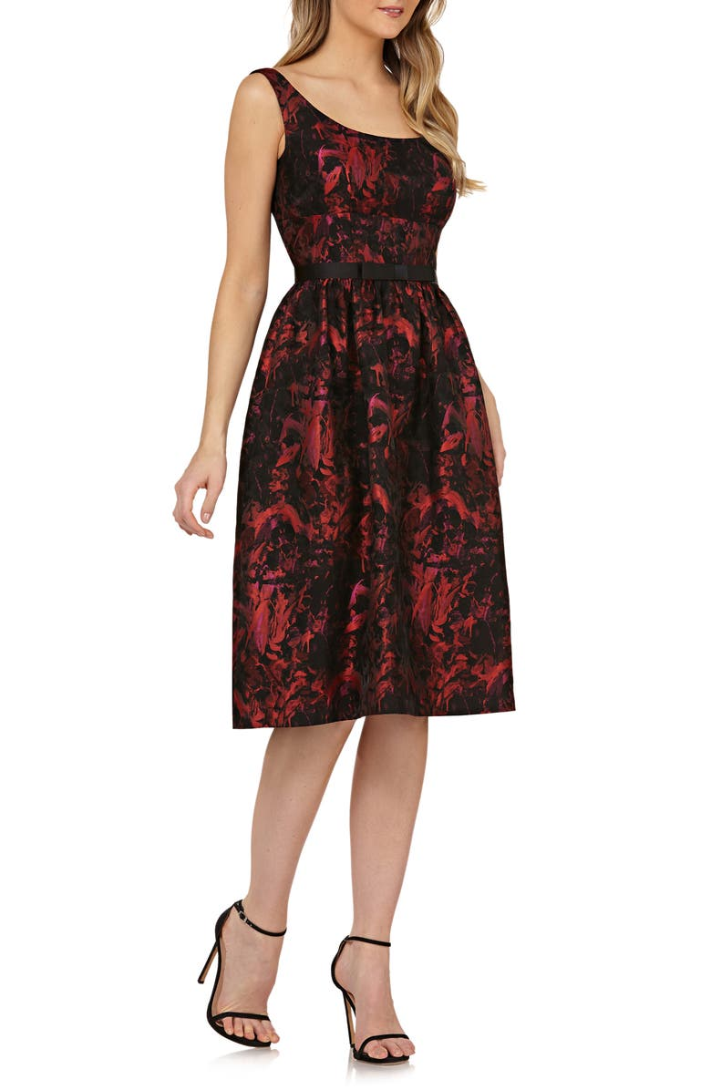 KAY UNGER Sleeveless Bow Waist Fit & Flare Dress, Main, color, RED/ BLACK