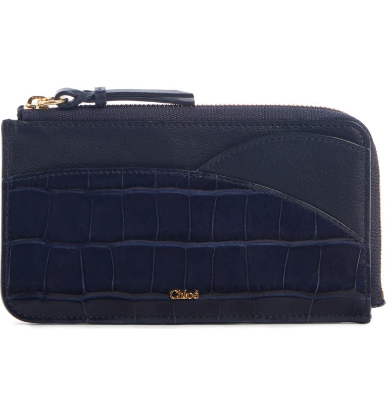CHLOÉ Walden Croc Embossed Calfskin iPad Pouch, Main, color, FULL BLUE
