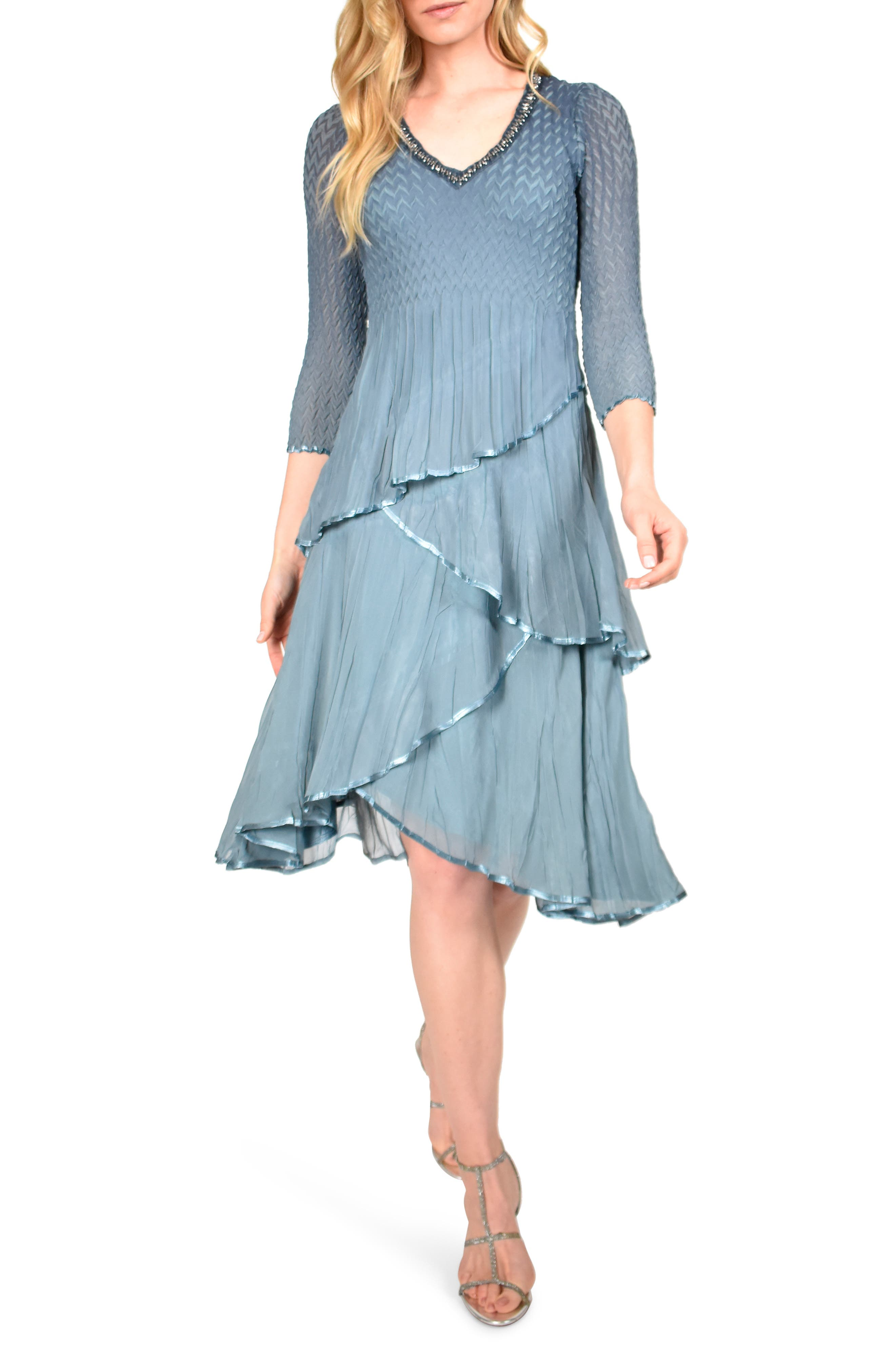 Vintage 1920s Dresses – Where to Buy Womens Komarov Tiered Chiffon Dress $398.00 AT vintagedancer.com