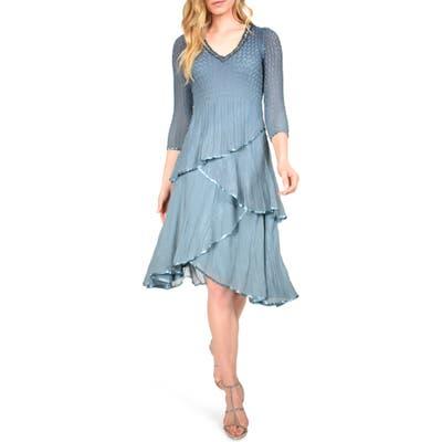 Komarov Tiered Chiffon Dress, Blue