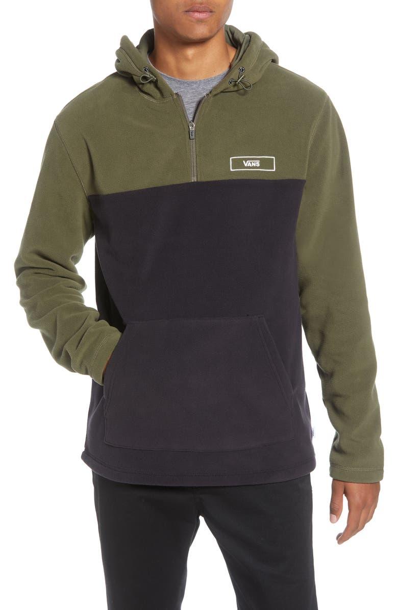 VANS Osburn Colorblock Fleece Pullover Hoodie, Main, color, GRAPE LEAF/ BLACK