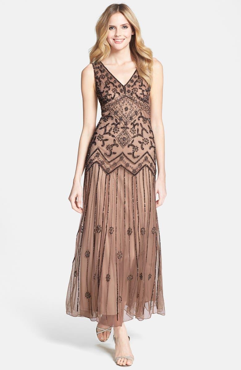 PISARRO NIGHTS V-Neck Beaded Sequin Gown, Main, color, 659