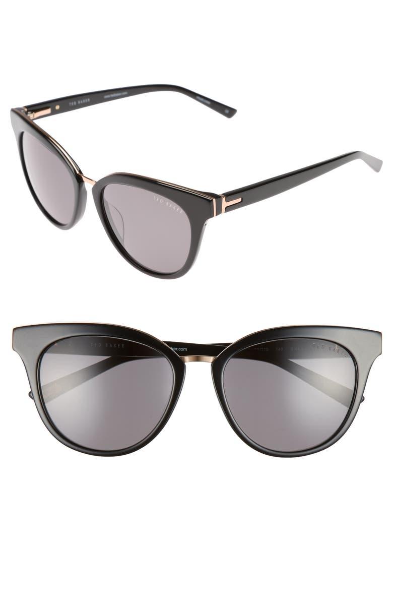 TED BAKER LONDON 53mm Cat Eye Sunglasses, Main, color, 001