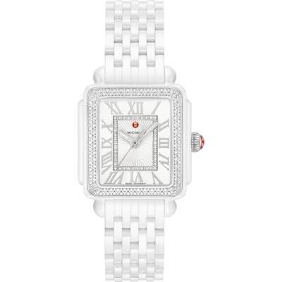Michele Deco Madison Mid Diamond Watch Head & Ceramic Bracelet, 2m