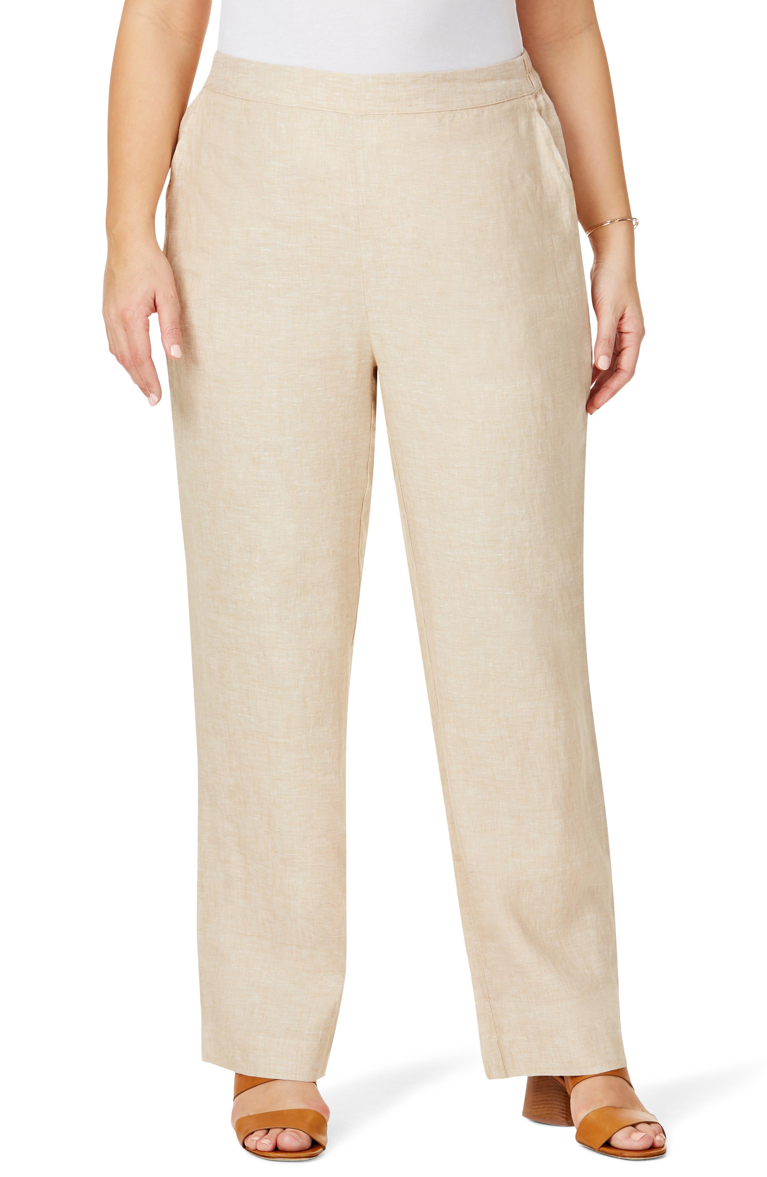 Plus Women's Foxcroft Pull-On Linen Pants