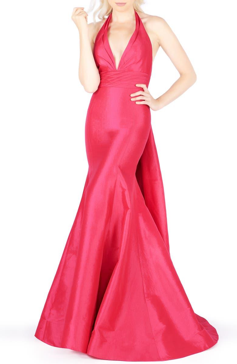 MAC DUGGAL Halter Neck Pleated Taffeta Mermaid Gown, Main, color, FUCHSIA