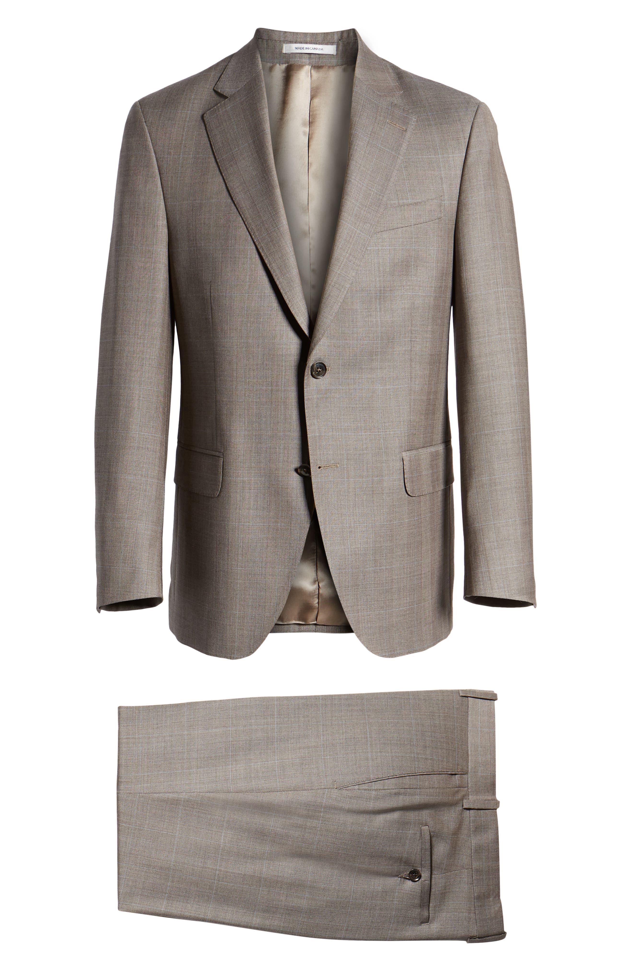 ,                             Flynn Classic Fit Windowpane Wool Suit,                             Alternate thumbnail 8, color,                             TAN