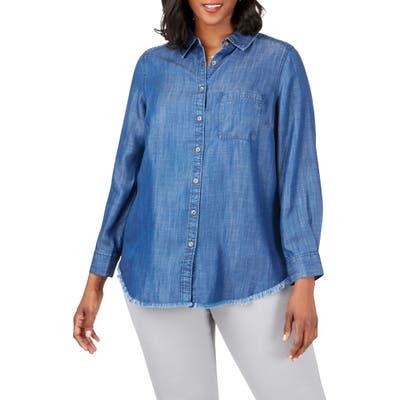 Plus Size Foxcroft Haven Tencel Lyocell Shirt, Blue