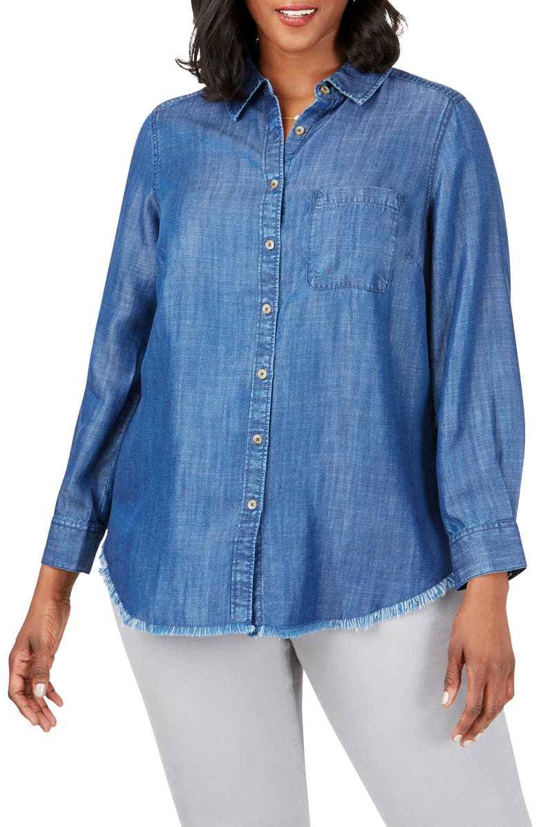 FOXCROFT Haven Tencel<sup>®</sup> Lyocell Shirt, Main, color, NAVY