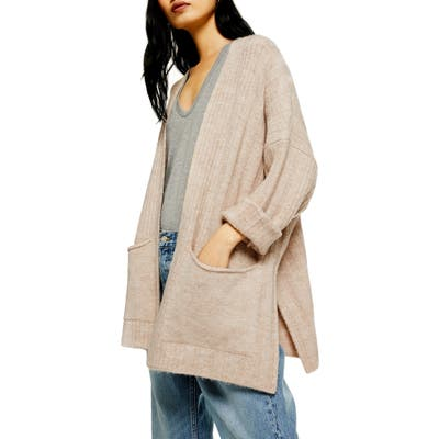 Topshop Long Cardigan, Beige