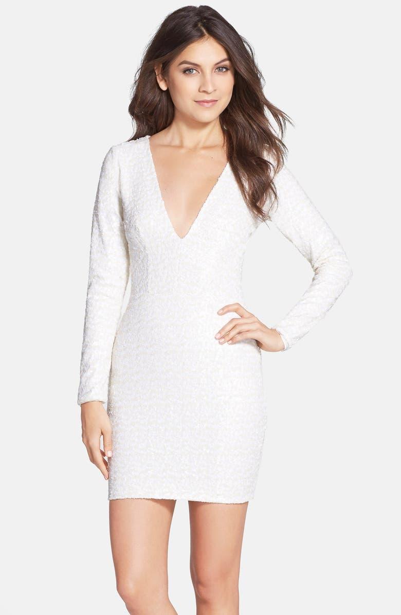 DRESS THE POPULATION 'Bridget' Sequin V-Neck Body-Con Dress, Main, color, 107