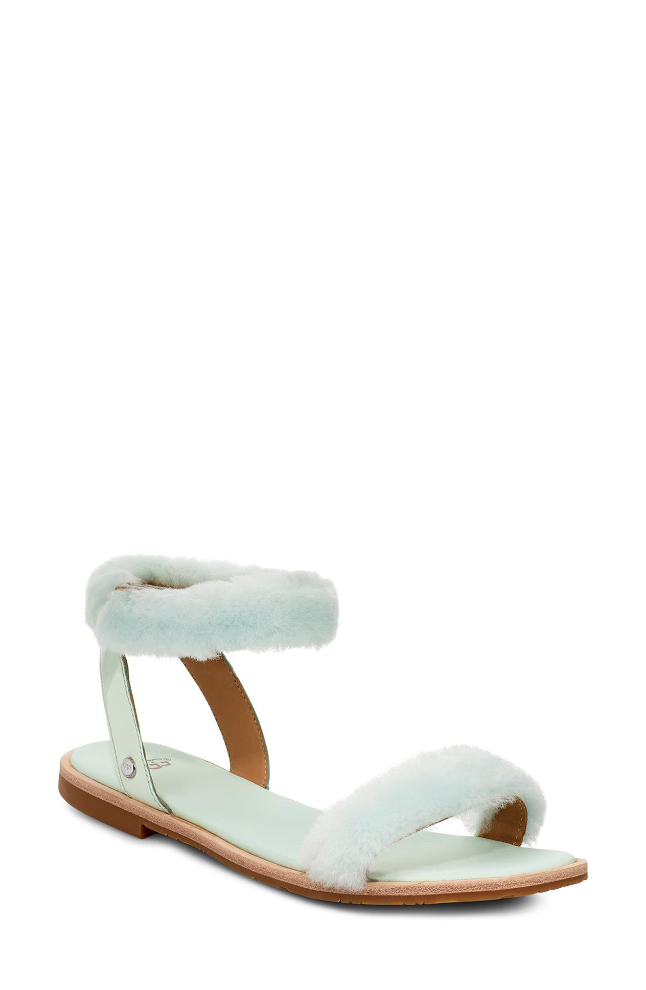 ,                             Fluff Springs Genuine Shearling Sandal,                             Main thumbnail 1, color,                             AGAVE GLOW