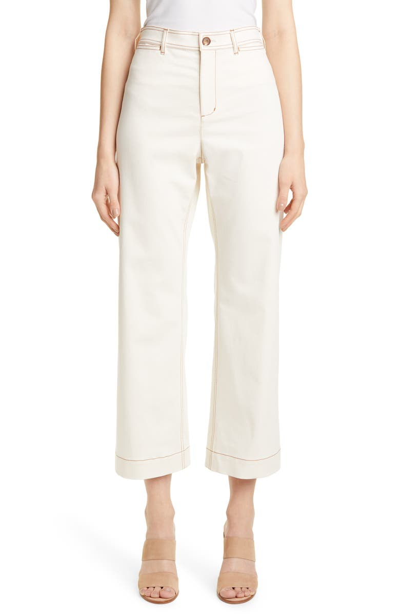 LAFAYETTE 148 NEW YORK Clark High Waist Crop Twill Pants, Main, color, NATURAL