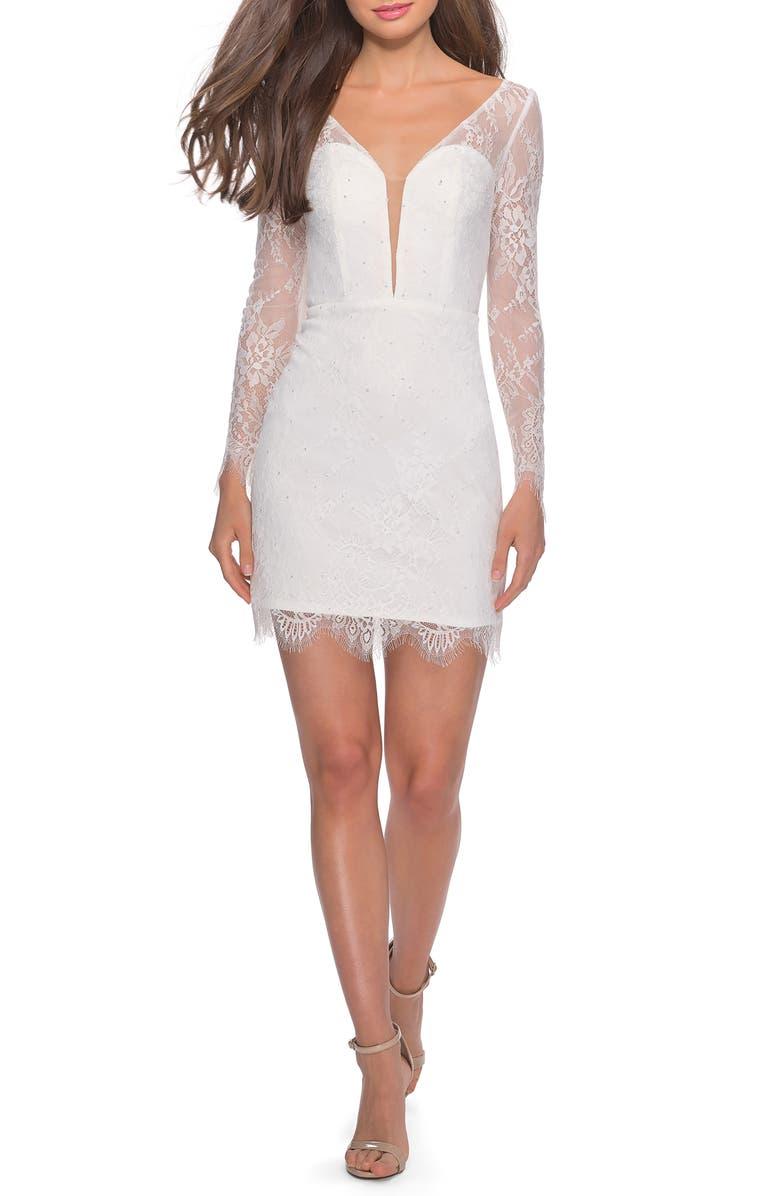 LA FEMME Long Sleeve Lace Cocktail Dress, Main, color, WHITE
