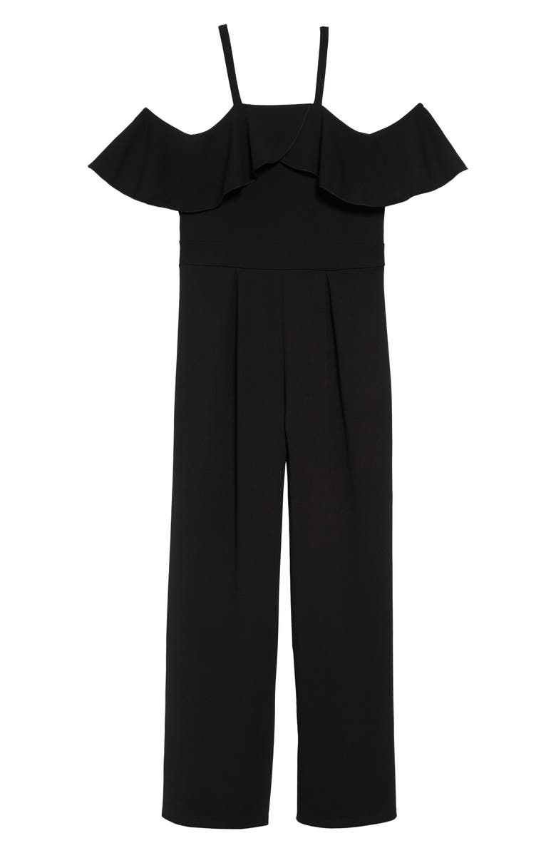 LOVE, NICKIE LEW Ruffle Off the Shoulder Jumpsuit, Main, color, 001-BLACK