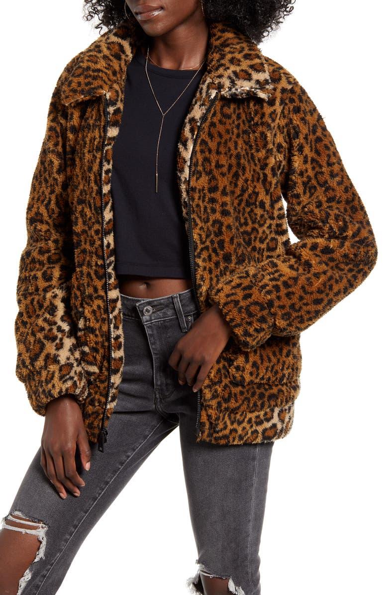LEVI'S<SUP>®</SUP> Leopard Print Faux Fur Jacket, Main, color, LEOPARD