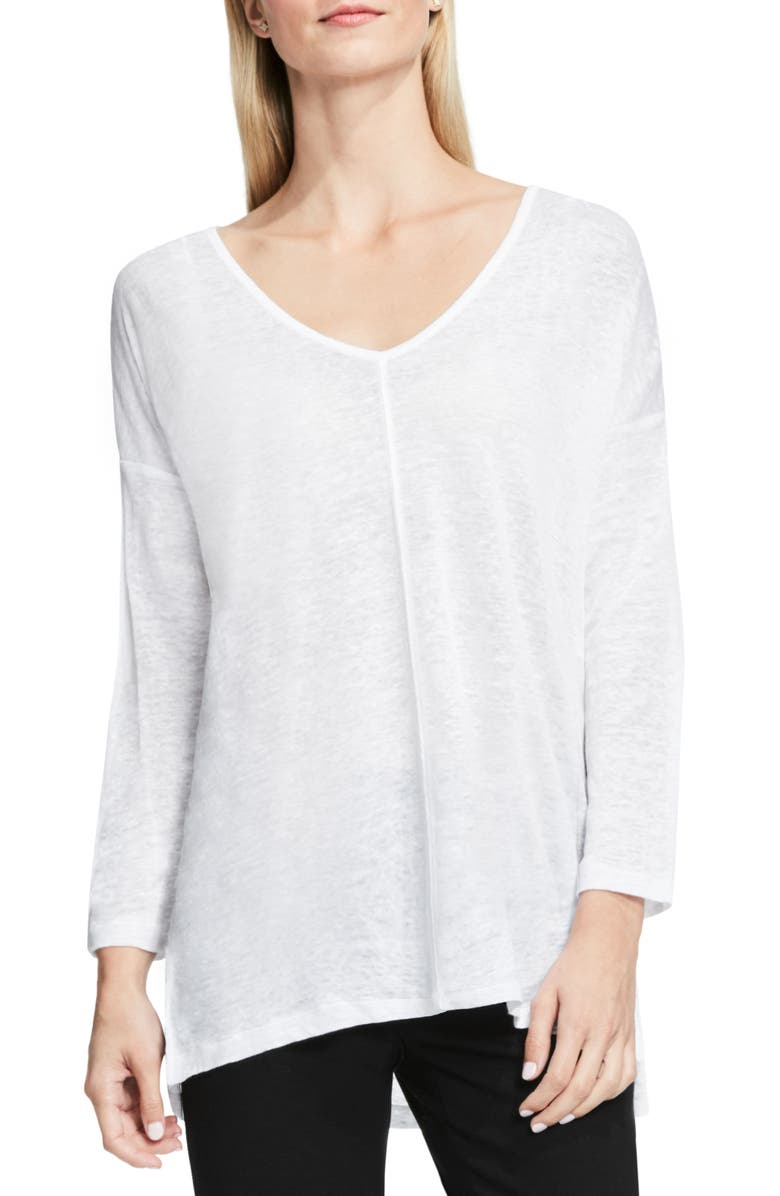 VINCE CAMUTO Two by Vince Camuto Seam Detail Linen Tee, Main, color, ULTRA WHITE