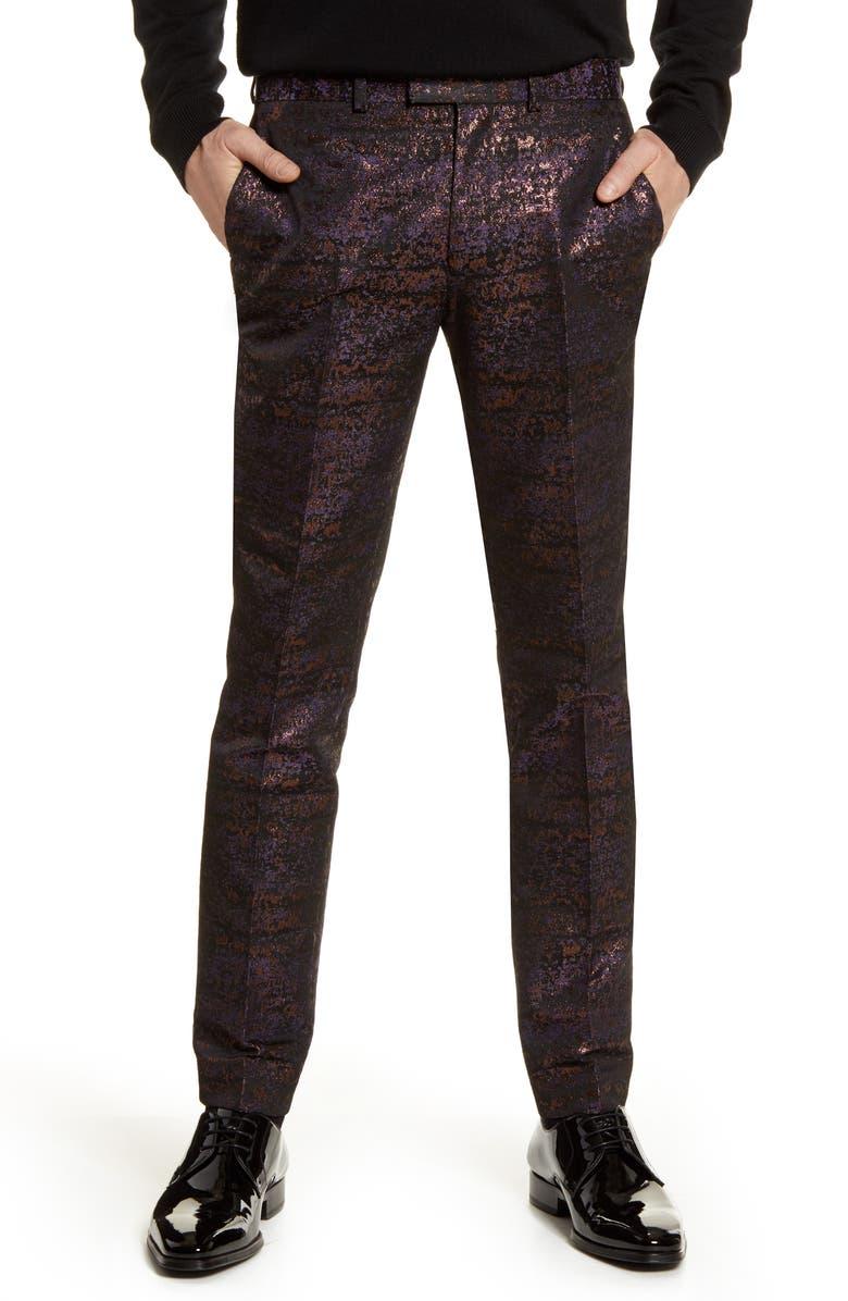 TOPMAN Gascon Skinny Fit Metallic Jacquard Pants, Main, color, PURPLE