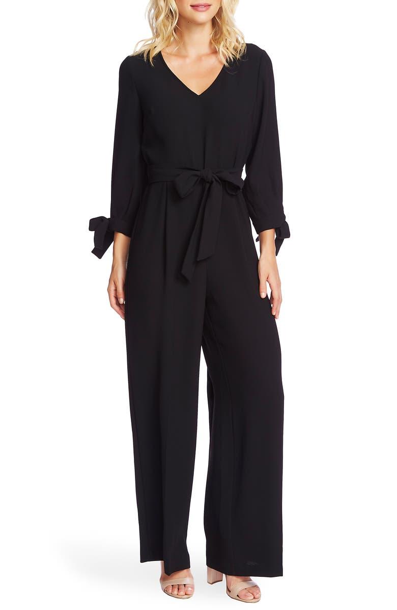 CECE Tie Sleeve Moss Crepe Jumpsuit, Main, color, RICH BLACK