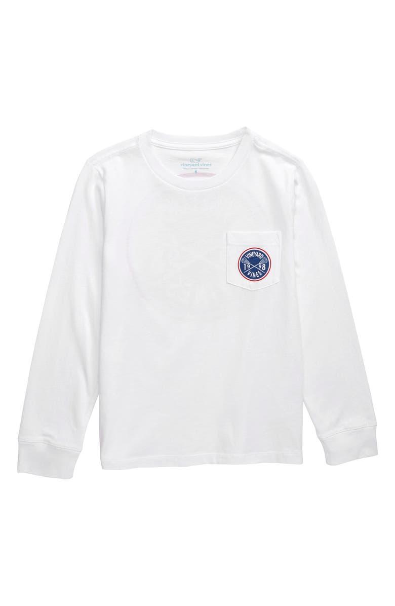 VINEYARD VINES Lacrosse Crest Graphic Long Sleeve T-Shirt, Main, color, WHITE CAP
