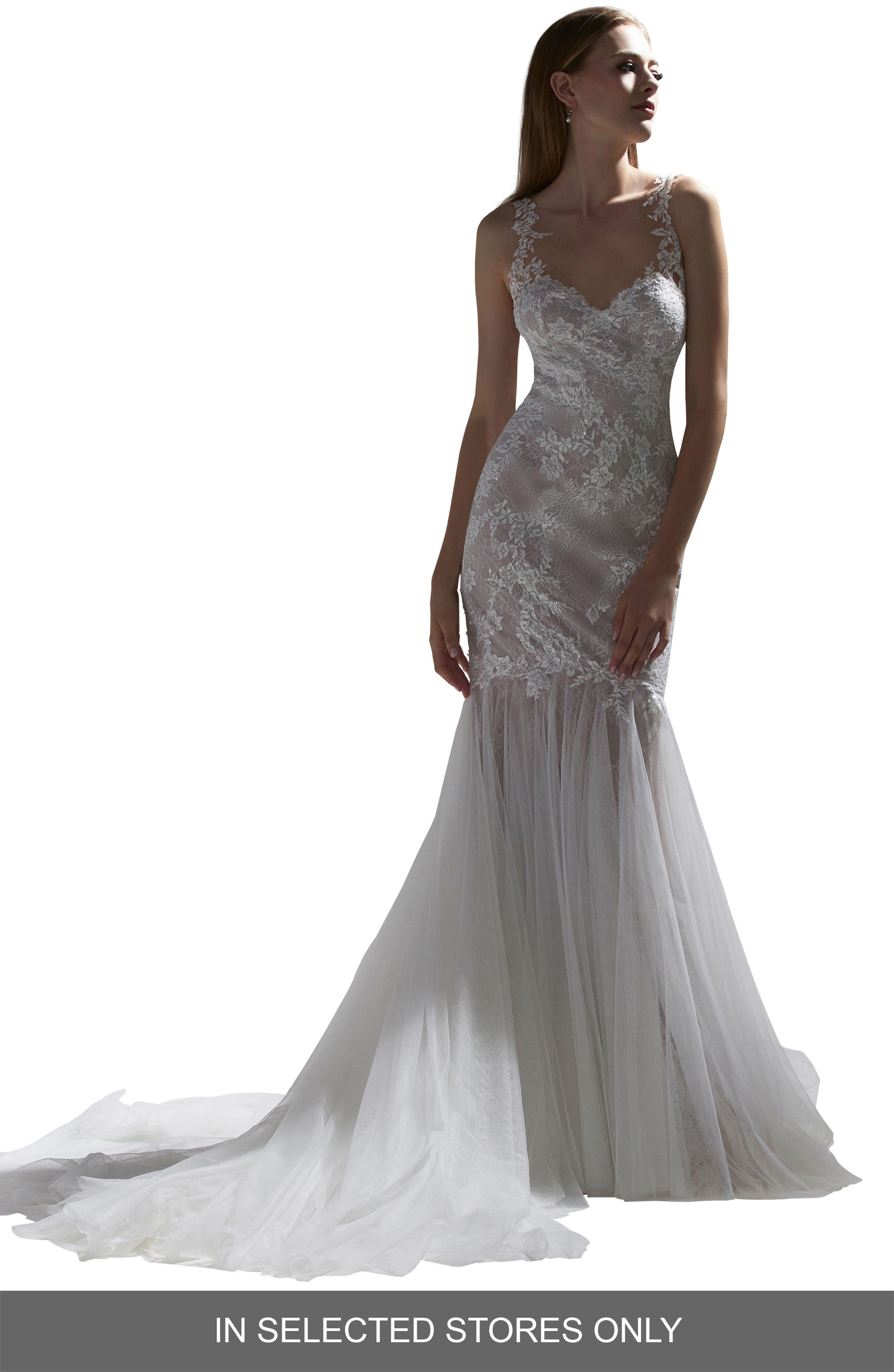 Watters Walcott Open Back Lace Wedding Dress, Size IN STORE ONLY - Ivory