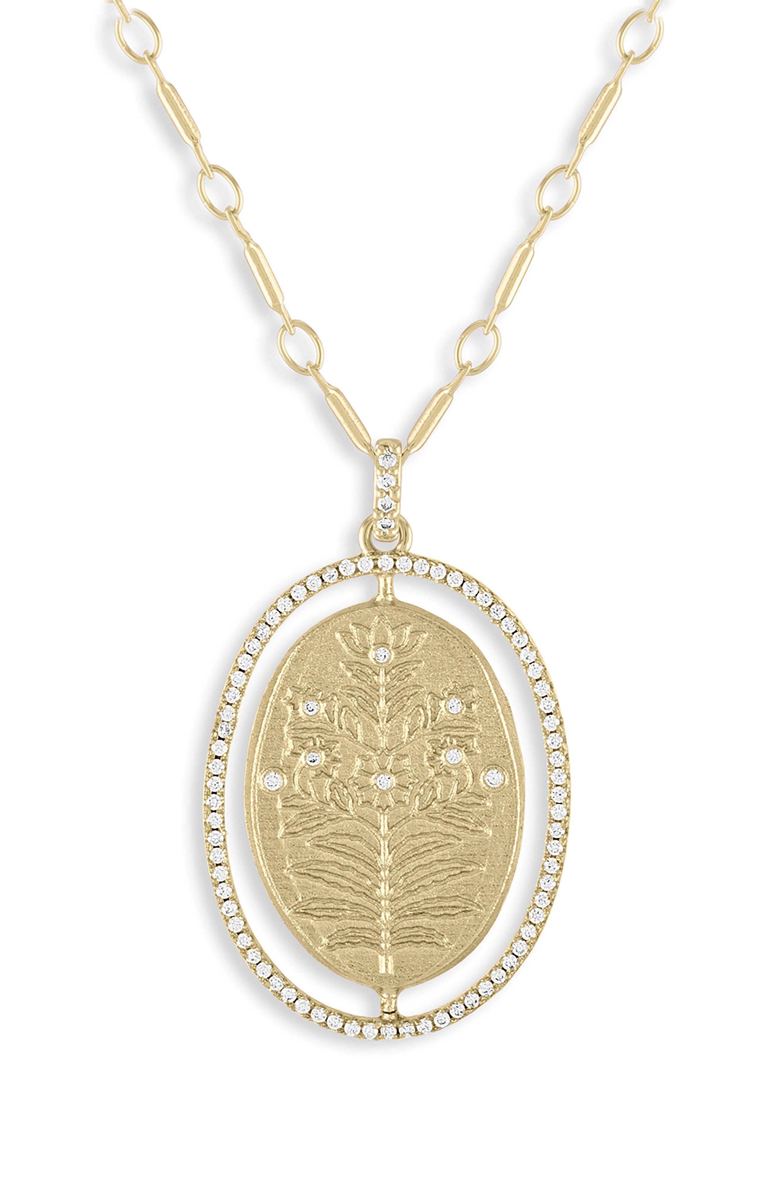Floral Medallion Pendant Necklace, Main, color, GOLD