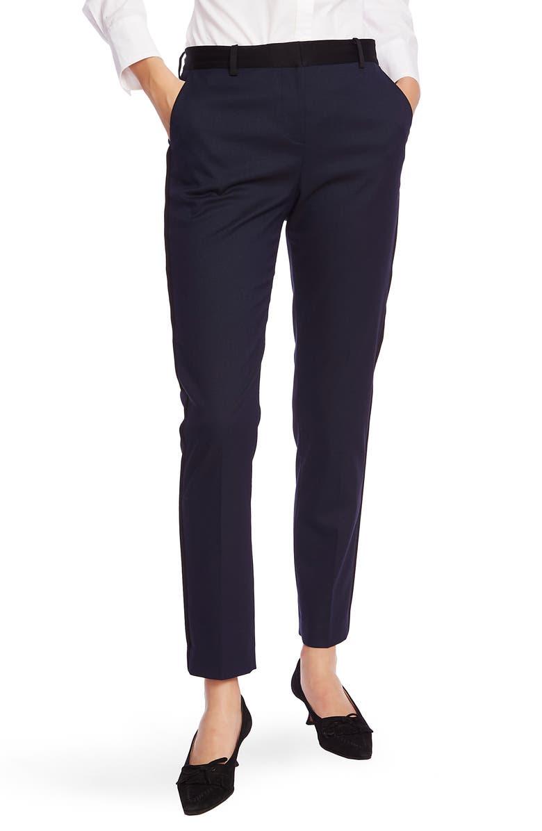 COURT & ROWE Satin Tuxedo Stripe Pants, Main, color, BLUE NIGHT