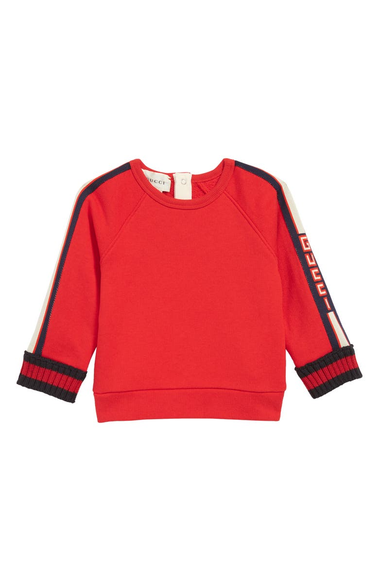 GUCCI Logo Sweatshirt, Main, color, CRAB RED/ BLUE/ RED