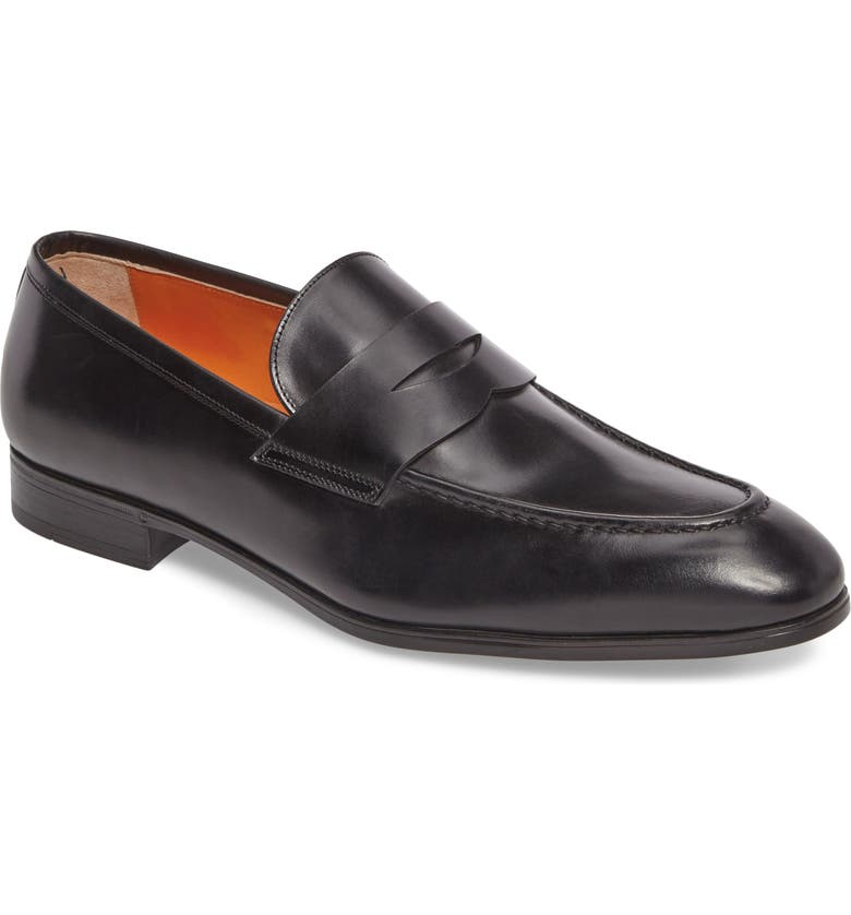 SANTONI Gavin Penny Loafer, Main, color, BLACK