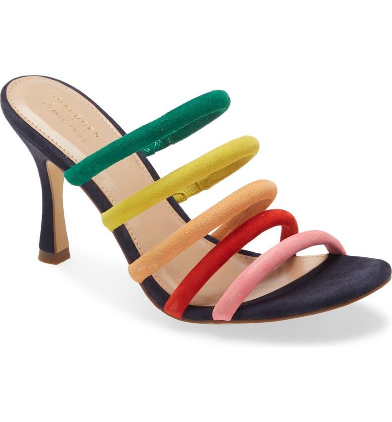 HALOGEN<SUP>®</SUP> x Atlantic-Pacific Ambrosia Slide Sandal, Main, color, NAVY MULTI SUEDE