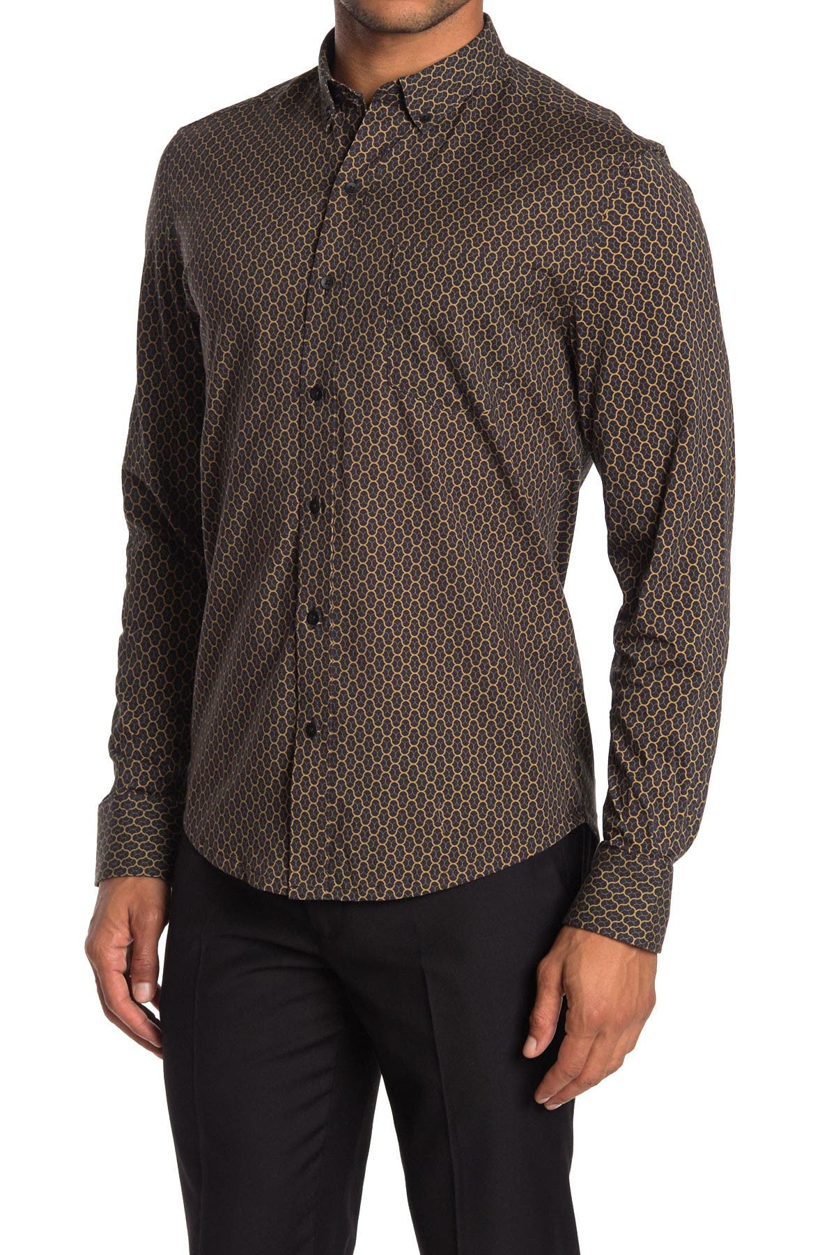 Image of WRK Interlaced Lines Print Reworked Shirt