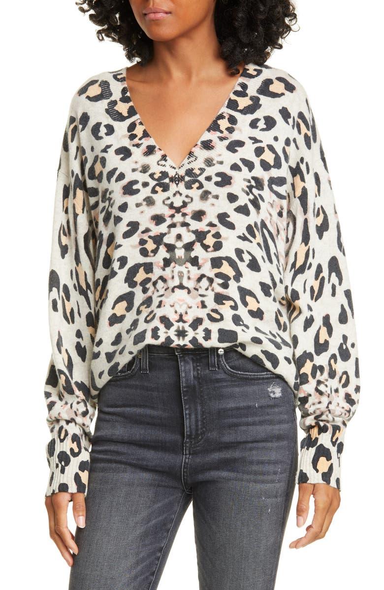 BROCHU WALKER Kelso Leopard Print Cashmere V-Neck Sweater, Main, color, LEOPARD PRINT