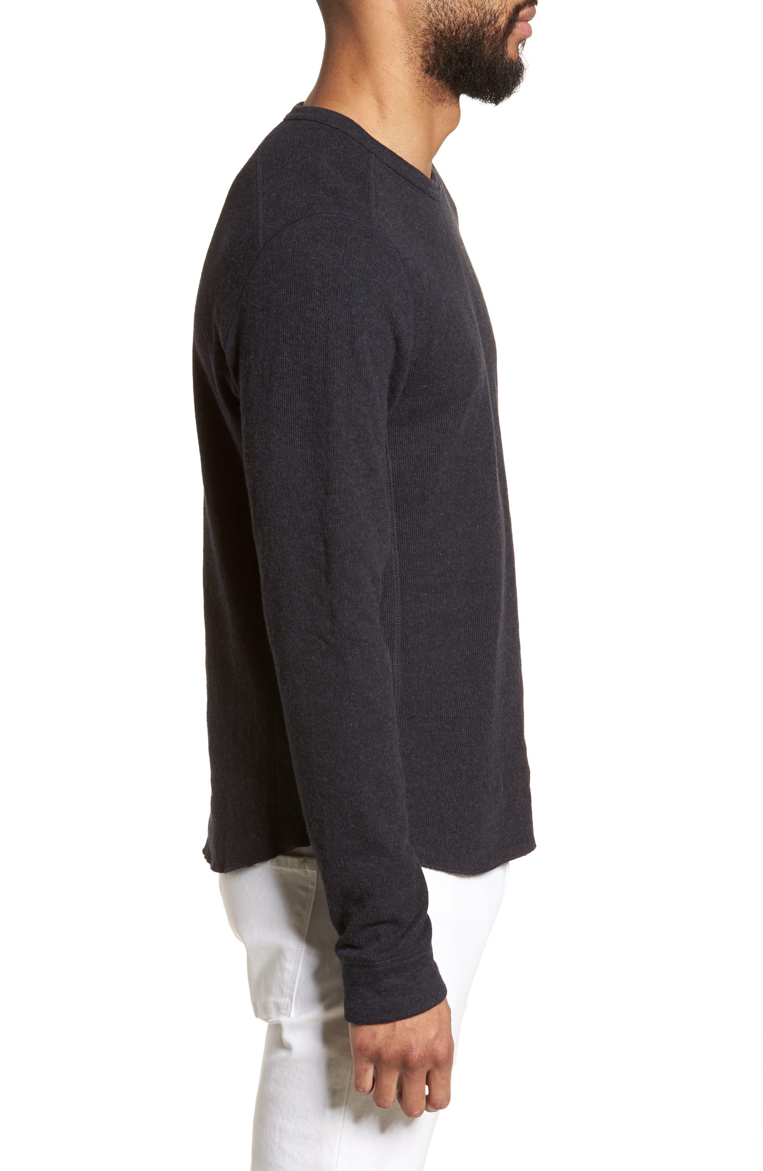 ,                             Double Knit Slim Fit Long Sleeve T-Shirt,                             Alternate thumbnail 3, color,                             MANHATTAN NAVY