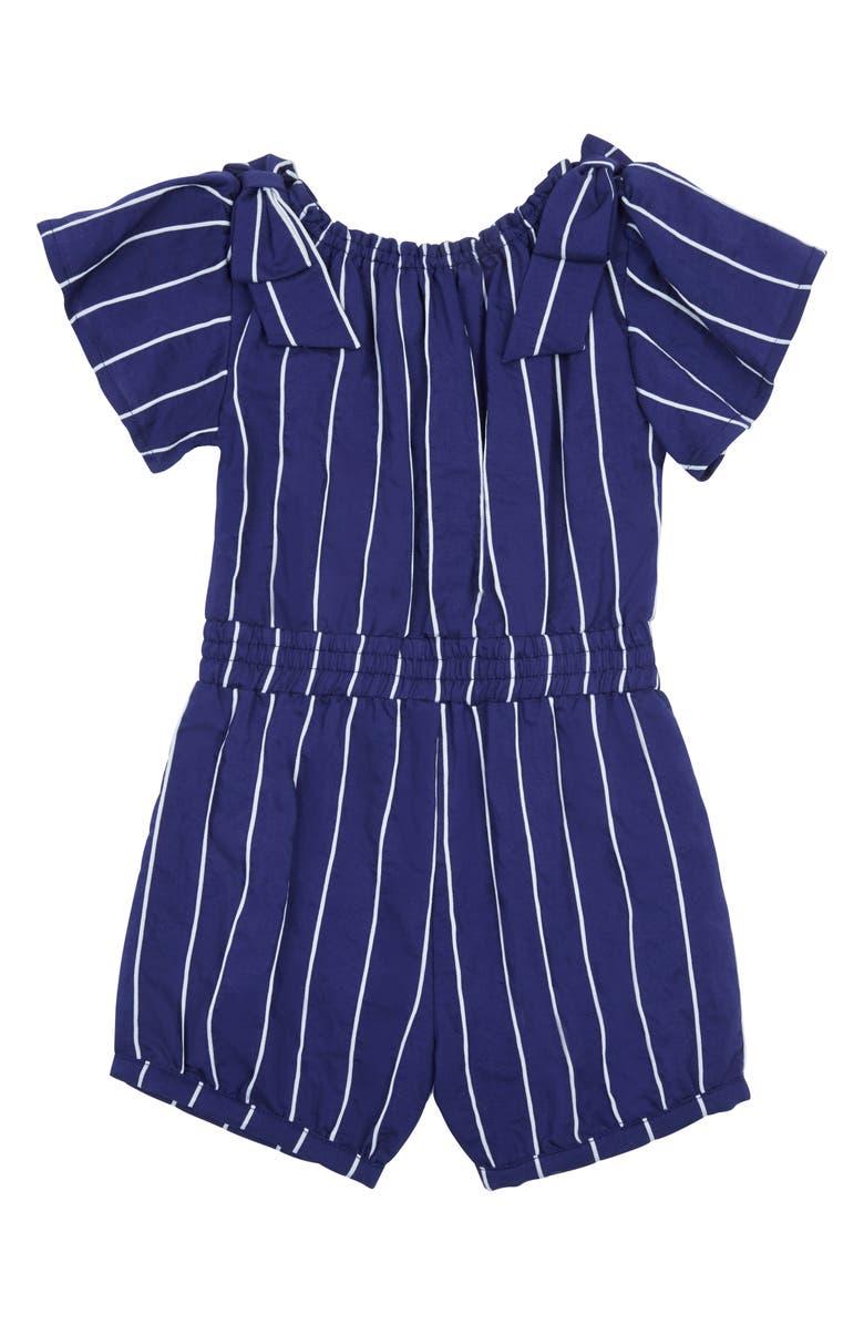 HABITUAL Girl Jay Stripe Romper, Main, color, NAVY