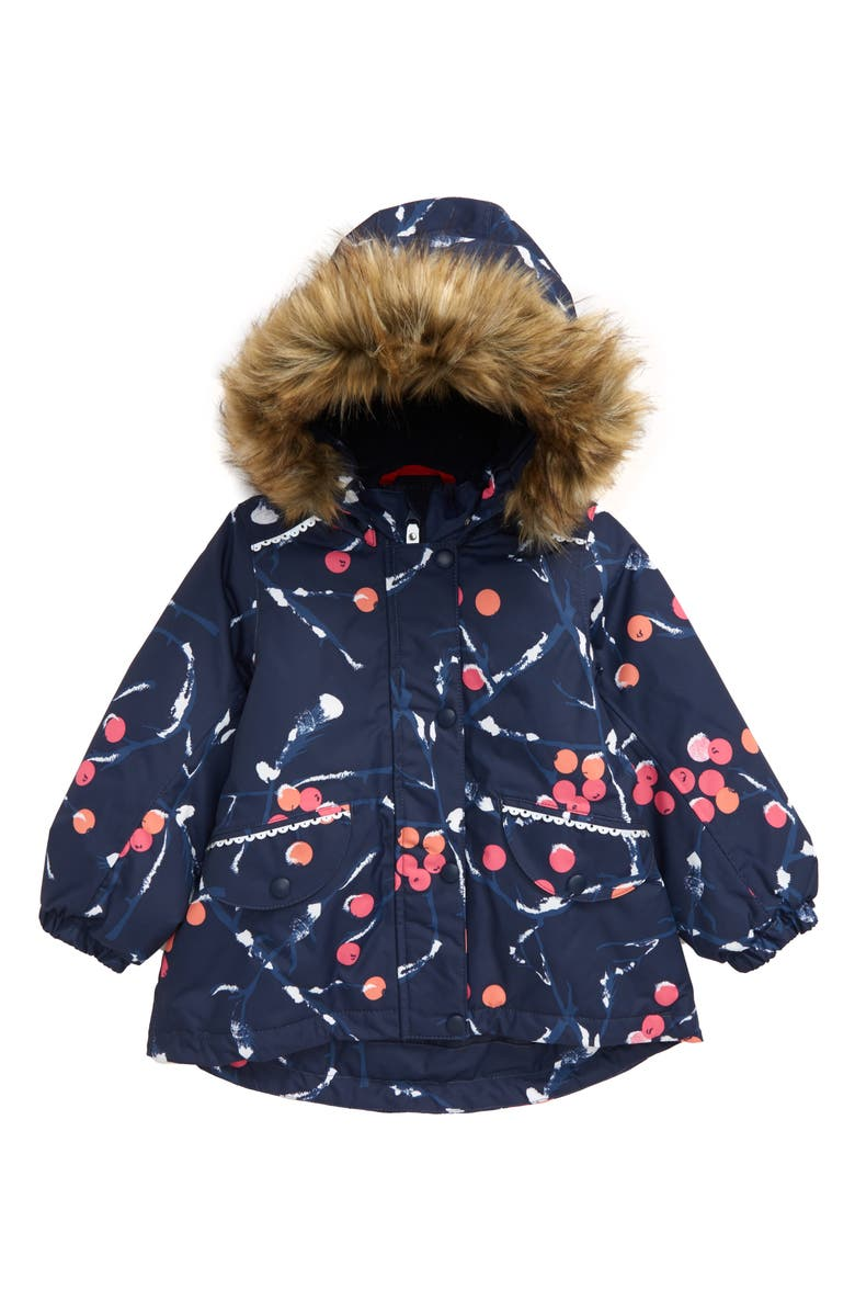 REIMA Mimosa Reimatec<sup>®</sup> Waterproof & Windproof Hooded Jacket with Faux Fur Trim, Main, color, NAVY