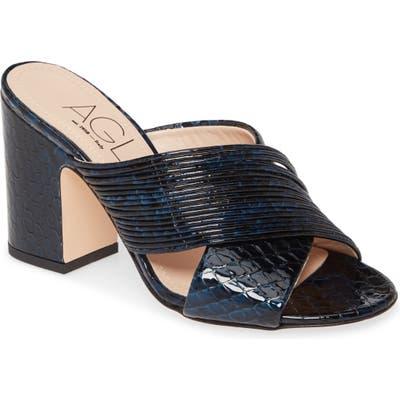 Agl Snake Embossed Slide Sandal, Blue