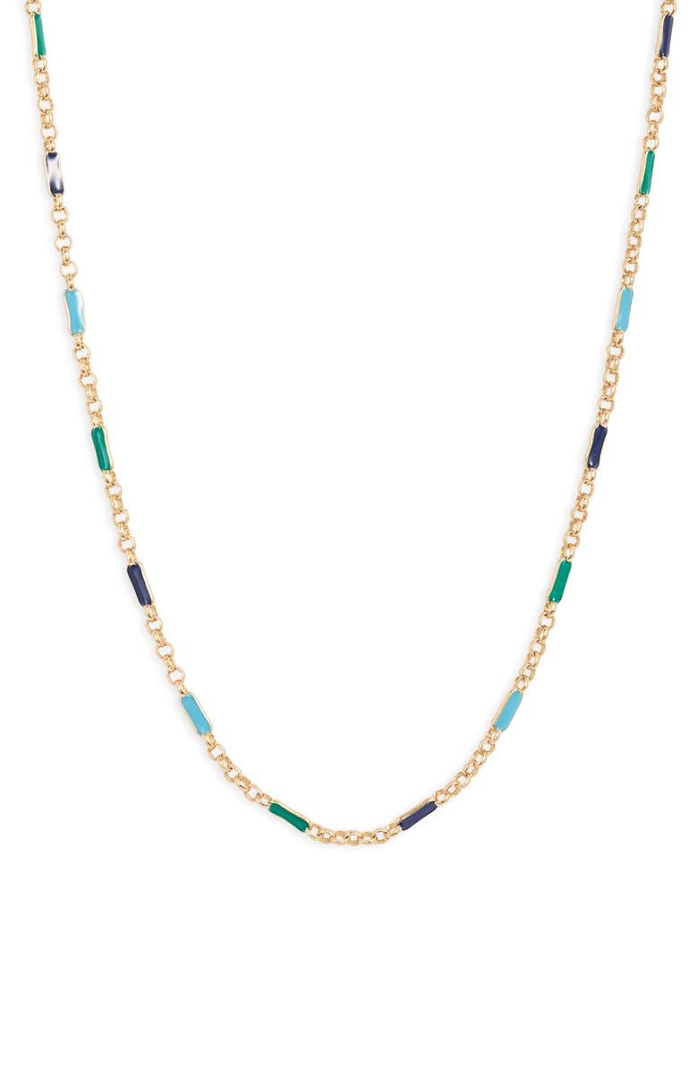 GORJANA Amalfi Enameled Necklace, Main, color, TEAL MIX ENAMEL