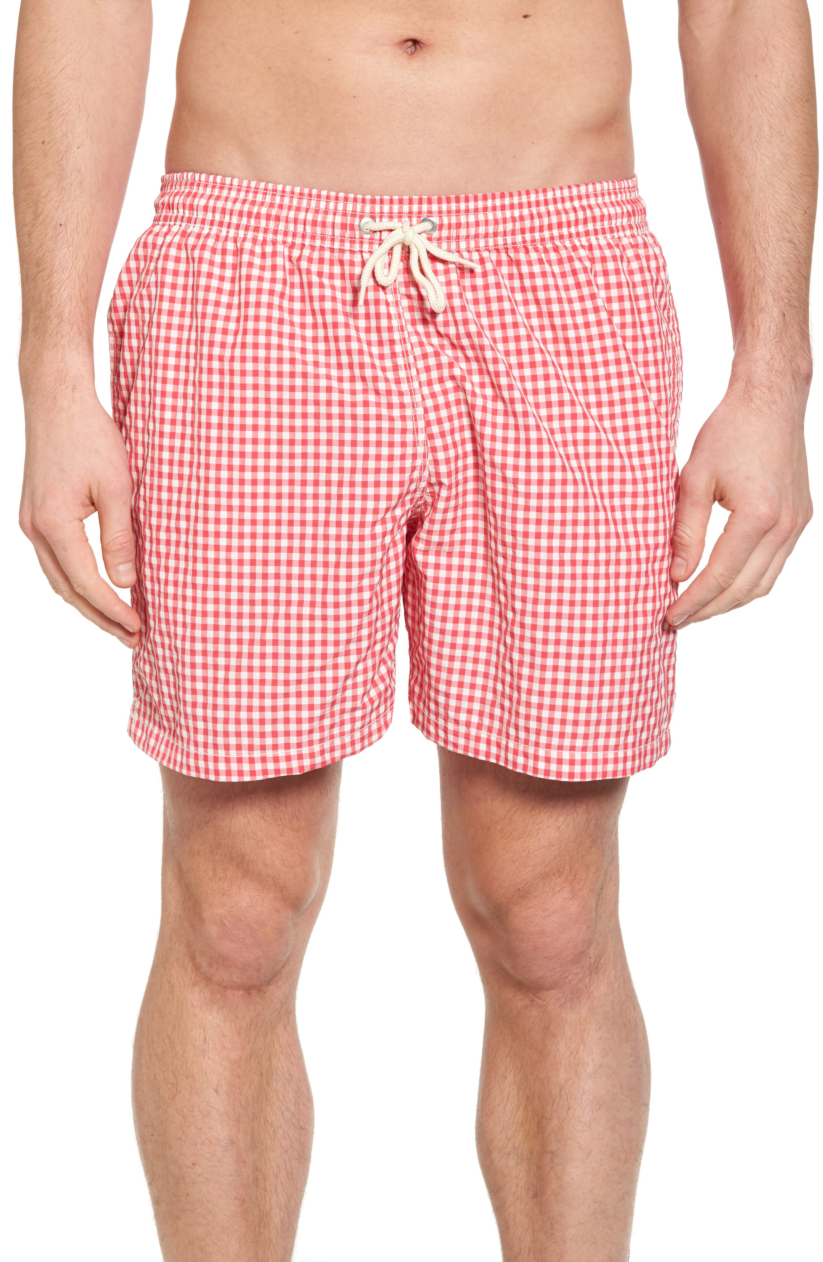 Barbour Gingham Check Swim Trunks, Pink