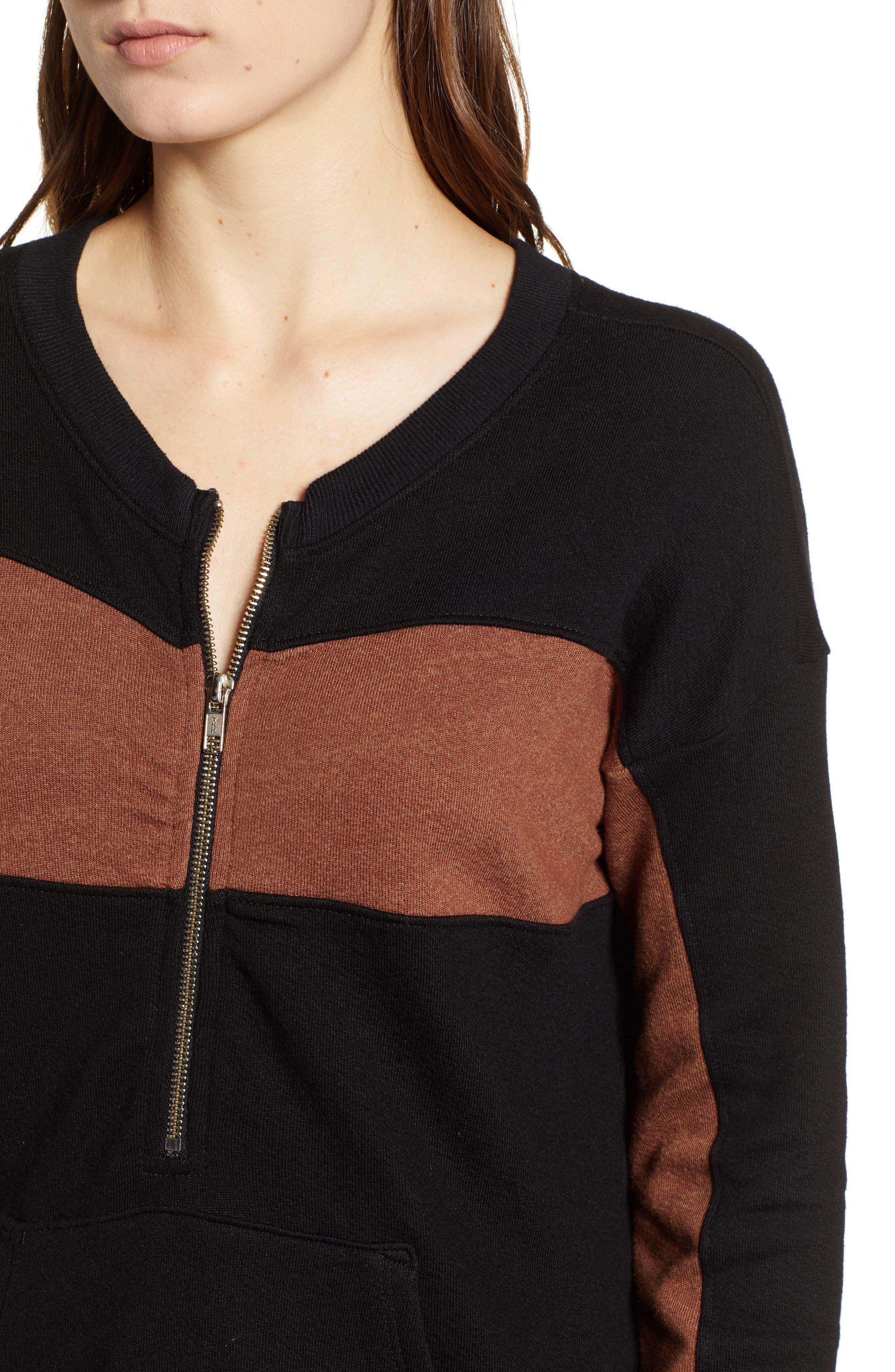 ,                             Stripe Quarter Zip Sweatshirt,                             Alternate thumbnail 4, color,                             002