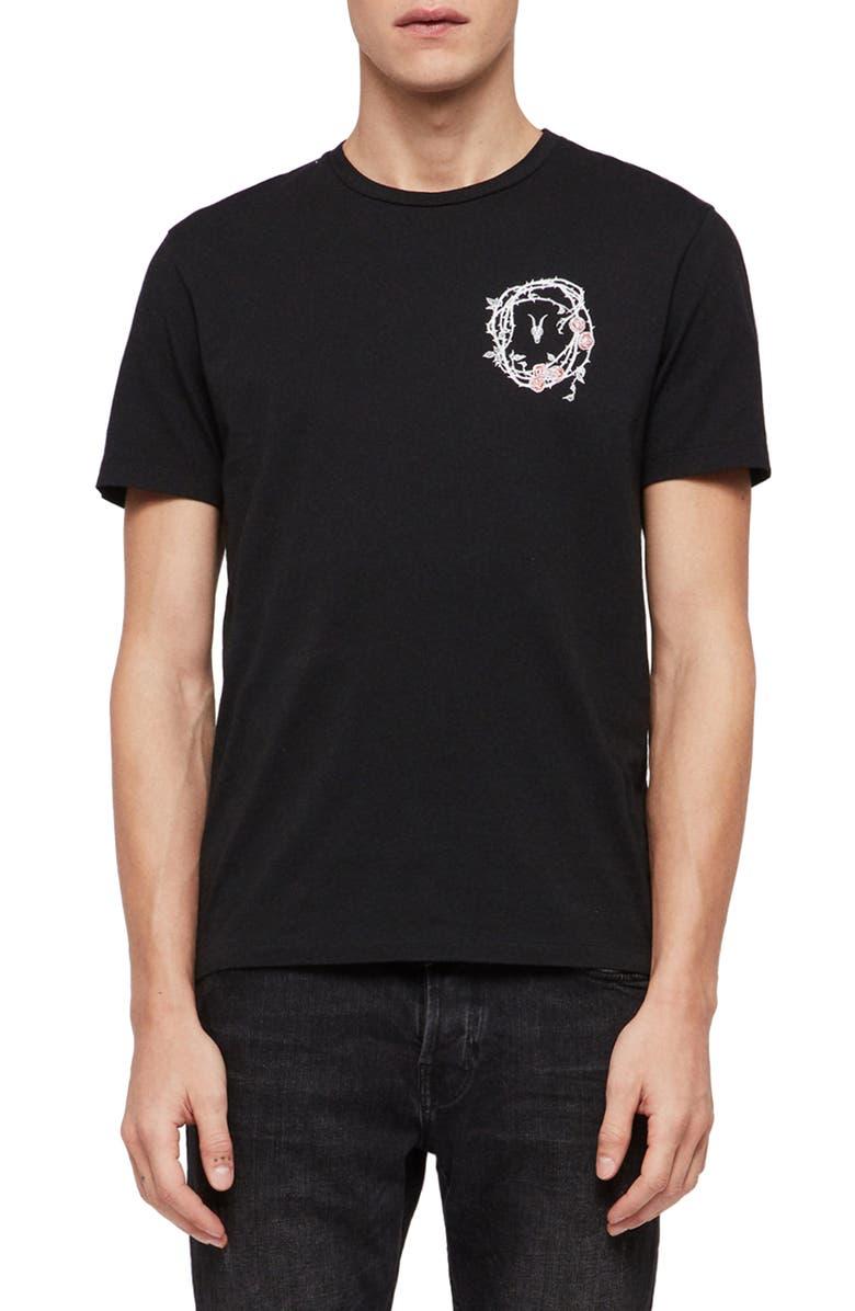 ALLSAINTS Rose Skull Graphic T-Shirt, Main, color, JET BLACK/ CHALK