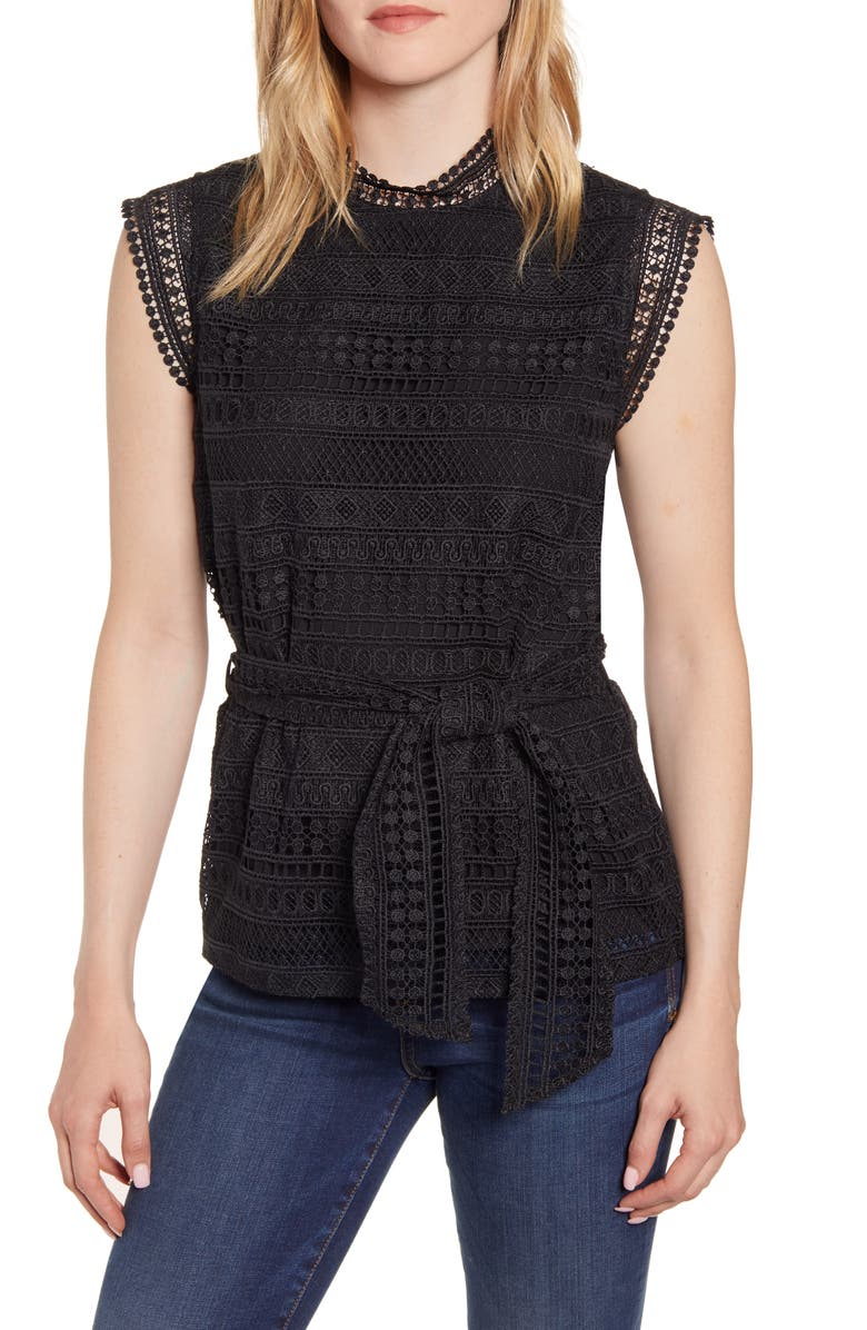 GIBSON Belted Lace Top, Main, color, BLACK