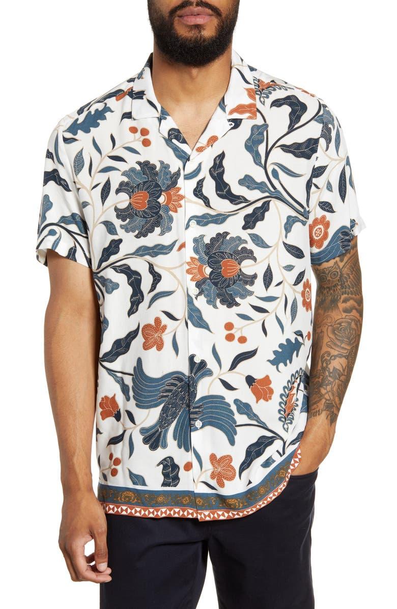 TOPMAN Floral Print Shirt, Main, color, STONE
