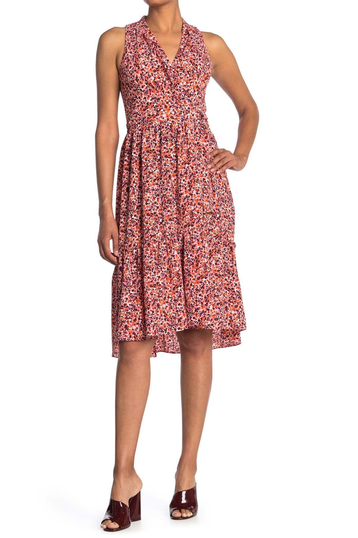 Image of London Times Floral Sleeveless Wrap Midi Dress