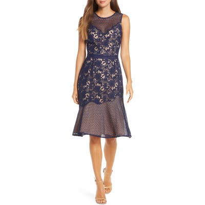 Adelyn Rae Lily Mixed Lace Dress, Blue